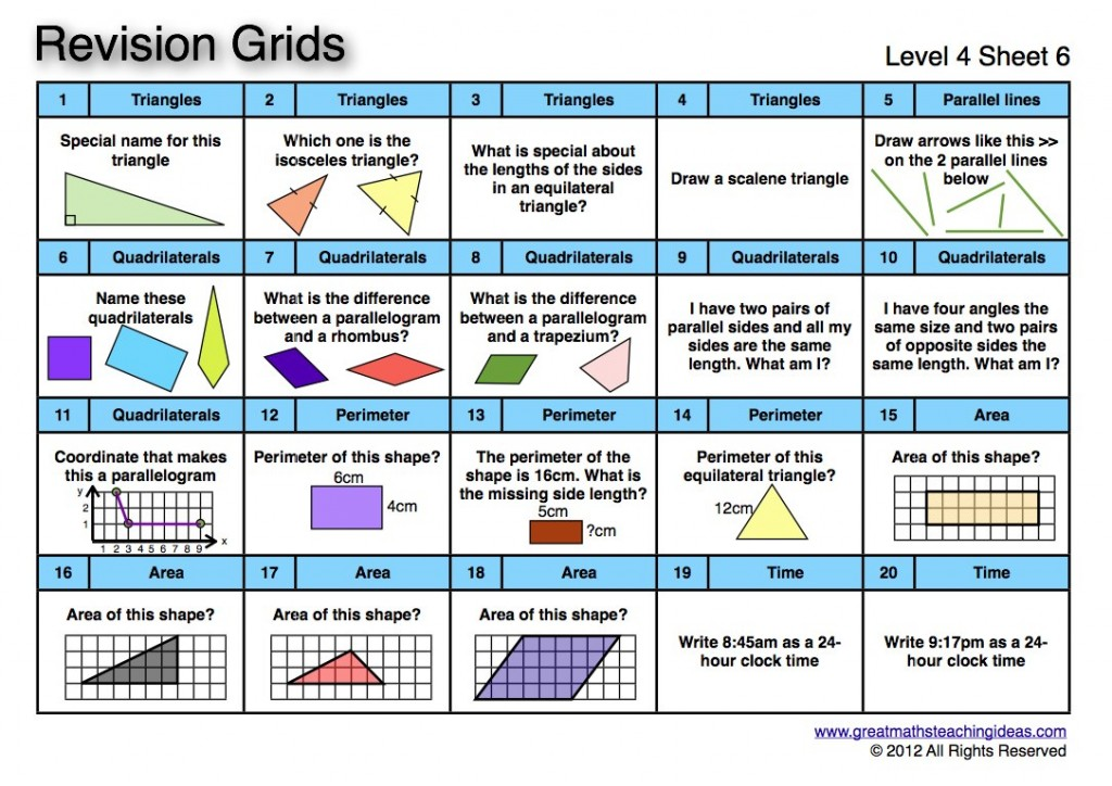 Revision Grids- Level 4 – Great Maths Teaching Ideas