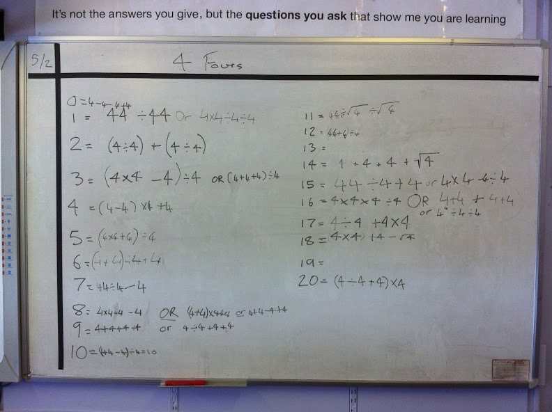 BIDMAS order of operations- Four Fours, Bodge Ups and Quiz Quiz ...