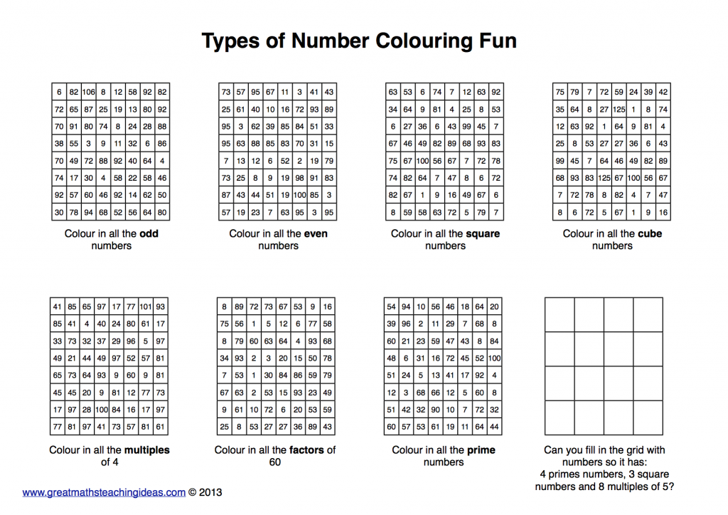 Types of number practice colouring fun – Great Maths Teaching Ideas